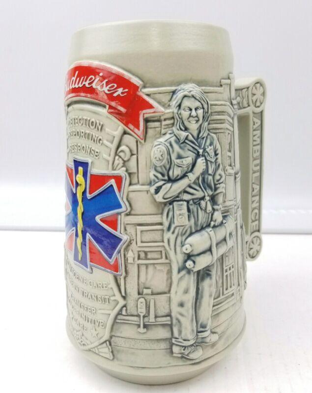 Budweiser Beer Stein Mug Heroic Caretakers EMT Ambulance CS573 Stoneware 2003 😁