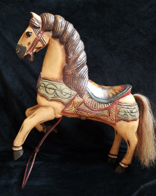 """Large Carousel Horse Hand Carved Wood w/ Plaster Overlay 25"""" Fine Painted Detail"""