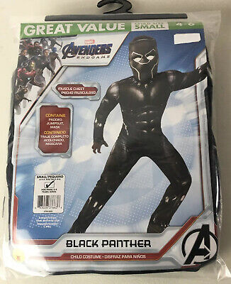 Costume For Boy (Marvel Avengers Black Panther Costume Child 4-6 NEW Muscle Chest Mask)