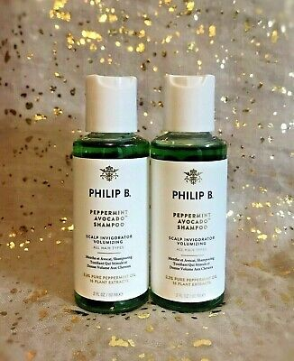 2x~New~PHILIP B Peppermint Avocado Shampoo~Scalp Invigorator~2 fl oz/60 ml Each~