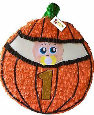 First Birthday Baby in Pumpkin Pull Strings Pinata by APINATA4U - Baby In Pumpkin