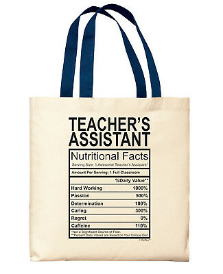 Gifts for Teacher's Assistant Nutritional Facts Label New Canvas Tote - Teacher Tote Bags