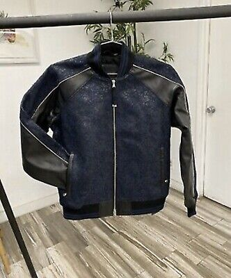 "Diesel Black Gold LORETTE-L Blue/Black Leather Jacket SZ 42"" NWT! RETAIL PR$1495"