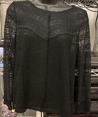Free People Intimately Black Lace Raw Hem Sheer Long Sleeve Top Blouse Size XS