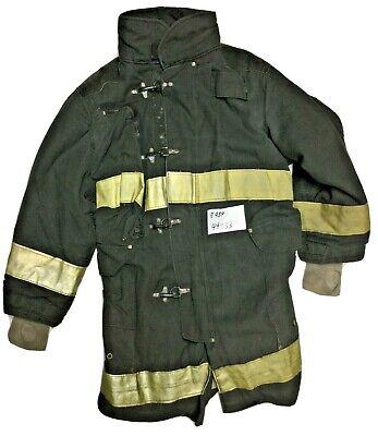 44x33 40l Janesville Lion Firefighter Black Turnout Jacket Yellow Stripe J934
