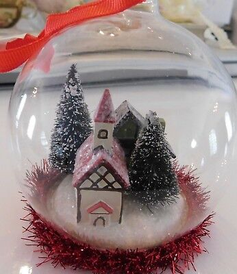 MARTHA STEWART GLASS BALL ORNAMENTS WITH HOUSES AND SNOW SCENE INSIDE~retail $12