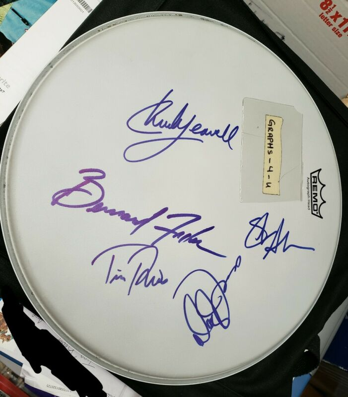Rolling Stones Band Signed Drumhead COA