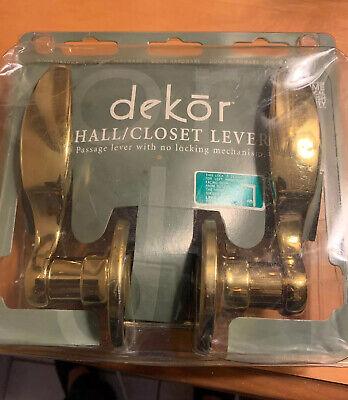DekOr HALL & CLOSET POLISHED BRASS SCROLL DOOR HANDLE LEVER SET LEFT HAND DOORS Door Lever Set Polished Brass