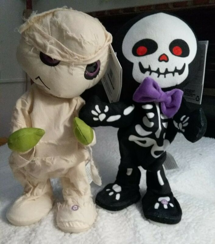 New W/Tags Gemmy Halloween Animated Dancing  Mummy & Skelton
