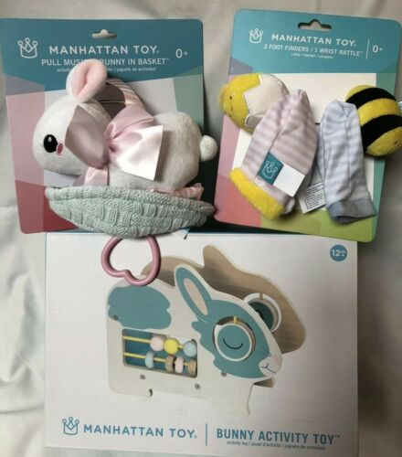 Manhattan Toy Baby LOT Bunny Activity, Musical Pull Bunny, F