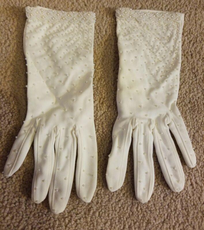 Bridal Scattered Pearl Nylon White Wedding Gloves