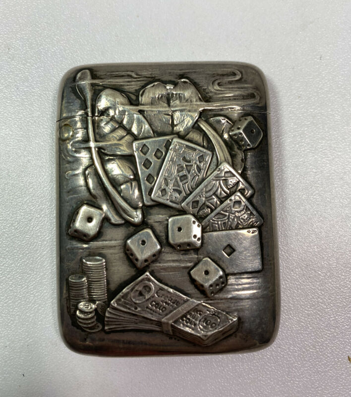 Rare Vintage Sterling Silver Gamblers Match Case—Good Luck Shamrock-Royal Flush
