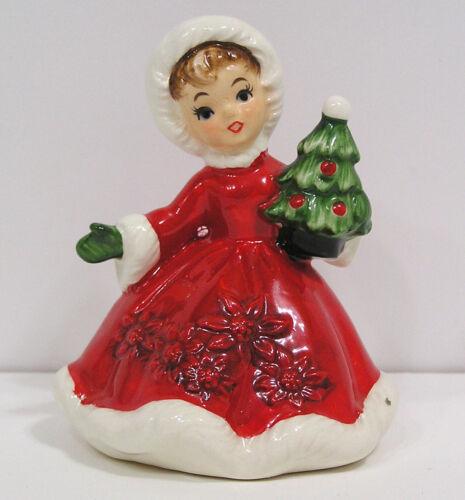 Vintage Christmas LEFTON Girl Figurine Holding Tree Red Green