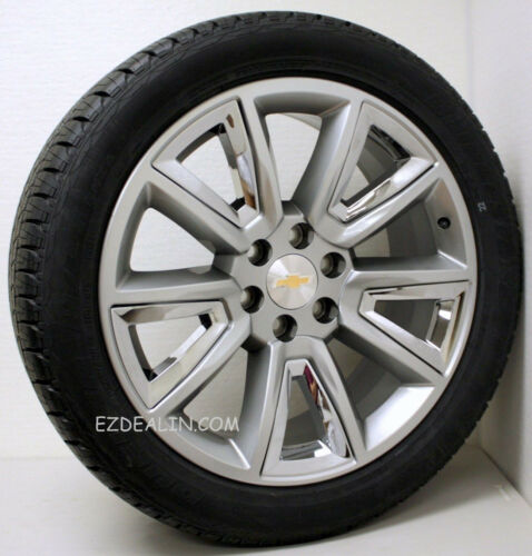 "22"" Chevy Silverado Tahoe Suburban Z71 Hyper Silver And Chrome Wheels Rims Tires"