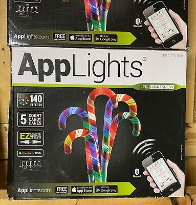 Applights LED lightshow Candy Cane pathway marker Christmas lights yard decor