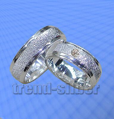 2 SILBER Trauringe Eheringe mit Stein und Gravur J30-1 ()