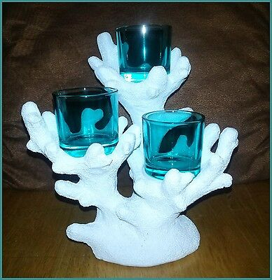 PartyLite TROPICAL CORAL VOTIVE TEALIGHT CANDLE HOLDER W/ 3 BLUE GLASS CUPS NIB