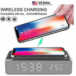 Modern 15 w Digital LED Desk Alarm Clock Thermometer Qi Wireless Charger