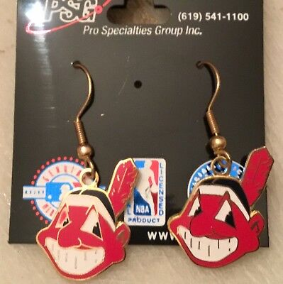 30c1e0abf97 Cleveland Indians Chief Wahoo Logo J Hook Earrings NEW. MLB BANNED LOGO. $.  8.00. Buy It Now. Free Shipping