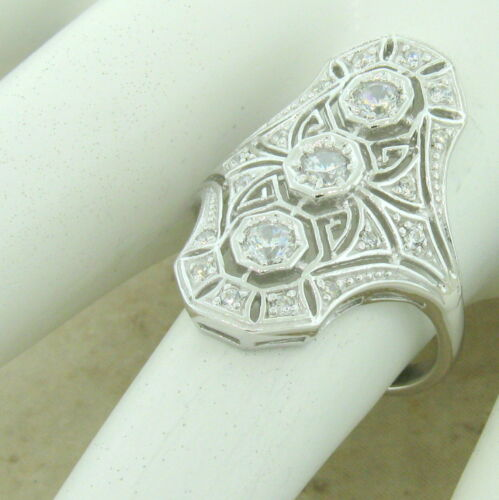 ART DECO RING 925 STERLING SILVER ANTIQUE STYLE CUBIC ZIRCONIA SIZE 9      #1149