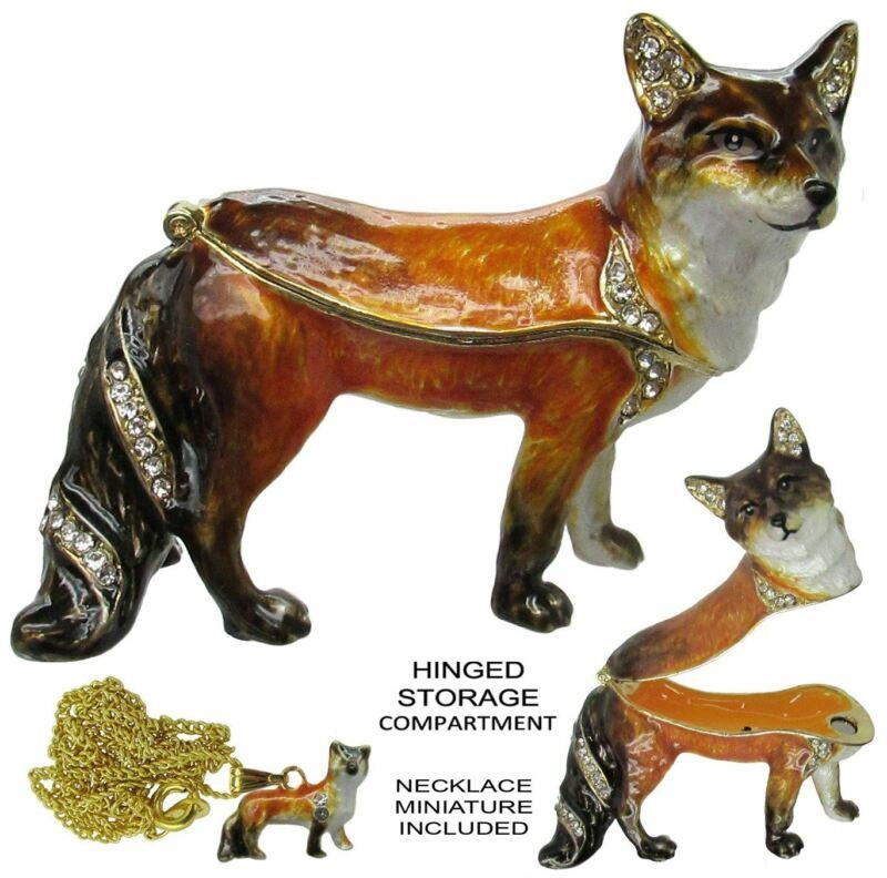Fox Jeweled Trinket Box with Austrian Crystals