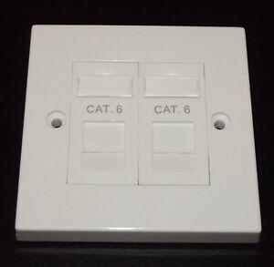 Cat6 RJ45 Double Face Plate (Gigabit Ethernet Network 2 Port Wall Data Socket)