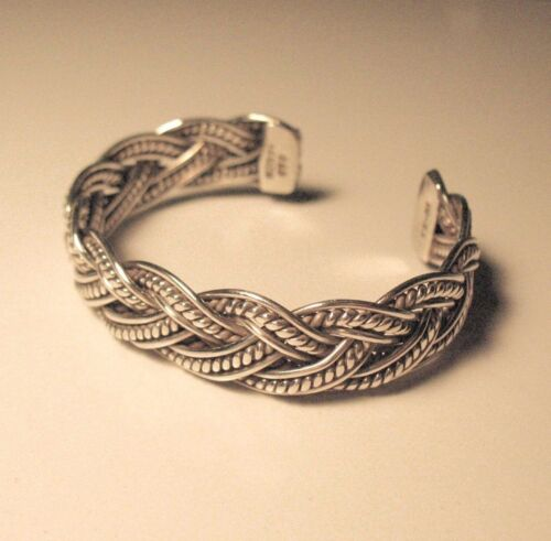 Vintage Mexican Sterling Silver Braided Cuff Bracelet - Medium Size - 37.7 grams