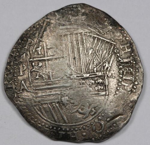 "Bolivia (1586-1589) ""PA"" Philip II Cob 8 Reales Silver Coin VF/XF Double Strike"