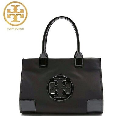 NEW Authentic Tory Burch Nylon Ella Tote Bag Black Mini