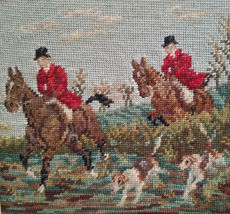 """ANTIQUE VINTAGE PETITE POINT NEEDLEPOINT HANDCRAFTED FOX HUNT HOUNDS 12"""" x 11"""""""