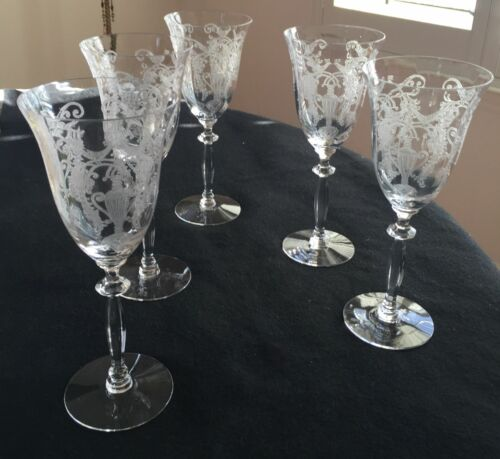 """BEAUTIFUL 5 ANTIQUE ETCHED 8.5"""" TALL WATER GOBLETS"""