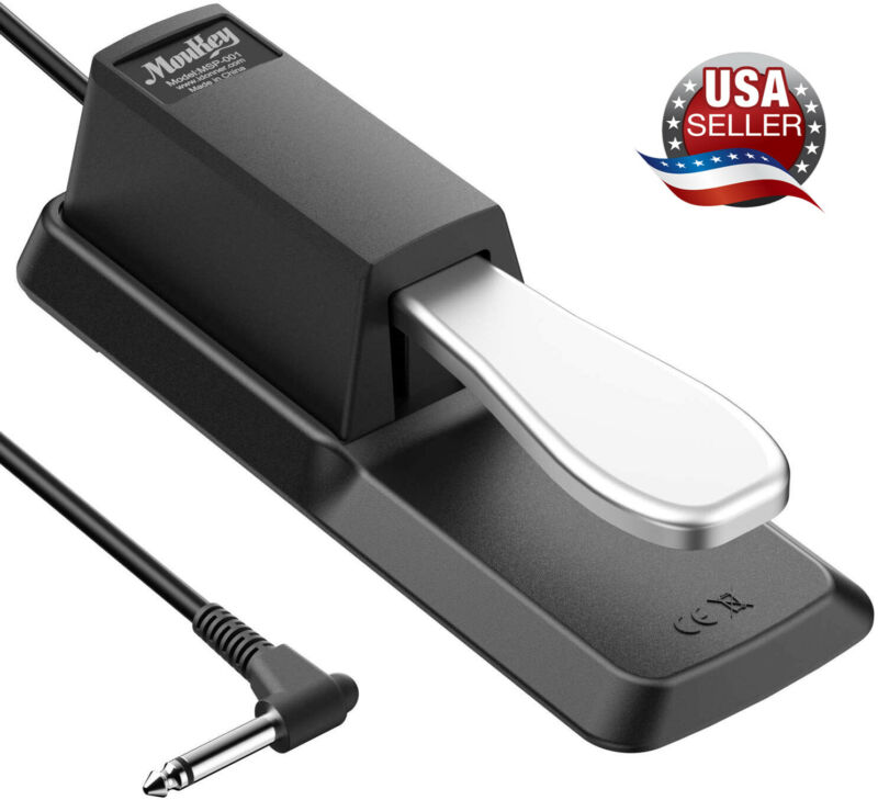 Universal Damper Sustain Pedal Foot Switch for Electronic Piano Keyboard Black