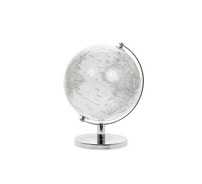 CONTEMPORARY WHITE & SILVER SMALL GLOBE METAL BASE ATLAS TABLE DESK ORNAMENT *