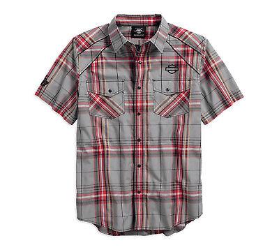 Harley-Davidson Mens Piping Accent B&S Logo Plaid Woven Shirt 96193-18VM