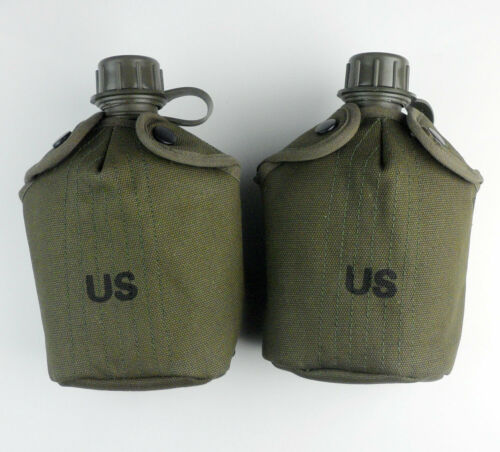 A Pair Vietnam War US Army M1956 Canteen M1961 Water Bottle Cover Pouch Case
