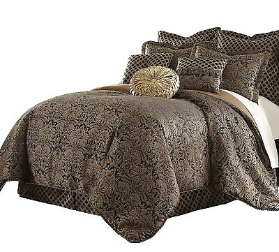 Sterling Creek 9pcs Black Gold Jacquard Floral Oversized Comforter Set, Cal King Gold King Comforter