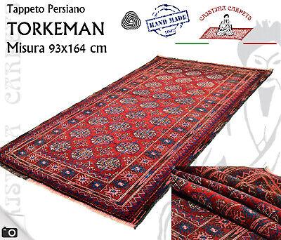 Tappeto Persiano Torkeman Vecchio 93x164cm dis. Bukara Annodato Lana W1 W9