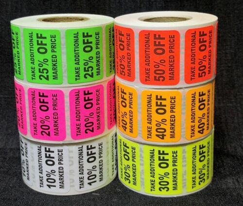 Square Percent Off Adhesive Label Discount label % OFF Sticker 500 Label In Roll