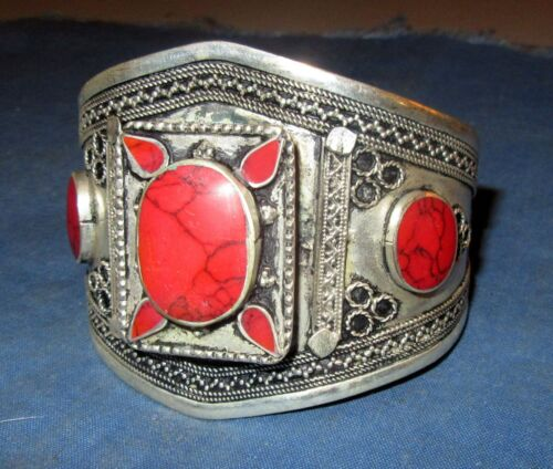 """Bracelet Gemstone Cuff Afghan Kuchi Tribal Alpaca Silver 3"""" dia"""