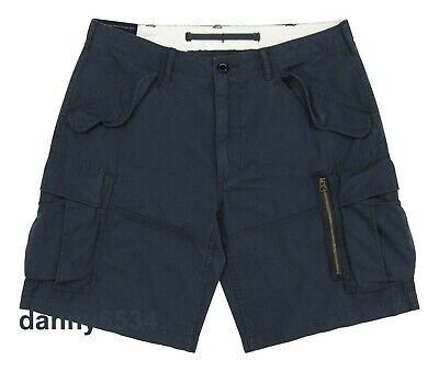 Cotton Ripstop Shorts - Men Polo Ralph Lauren CLASSIC FIT Navy Blue Cotton RIPSTOP Military Cargo Shorts