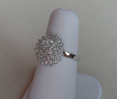 UK Made STERLING SILVER created Diamond Cluster Engagement style Ring Size L - S