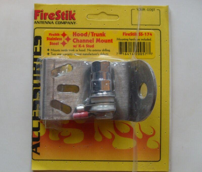 Firestik SS-174 Hood/Trunk Channel Stainless Steel CB Antenna Mount w K-4 stud