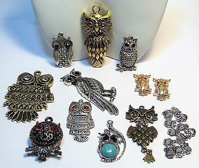 BIG OWL PENDANT LOT-JEWELRY MAKING SUPPLIES~23 ITEMS-SILVER-GOLD-BRONZE-BEADS