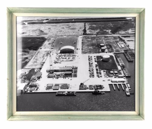 Louisiana Seaport Vintage Framed Aerial Photo 1950s Mid Century Barges Crane