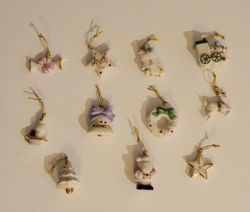 Lenox Mini 11 Ornaments Christmas Santa deer Train Candy Tree wreath bell candle