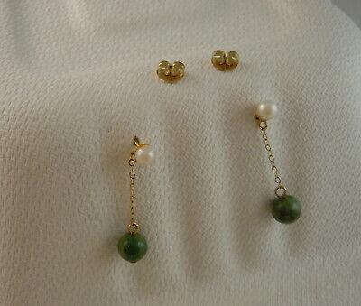 Tiny Pair 14k gold, pearl & jade Dangle Earrings Pierced