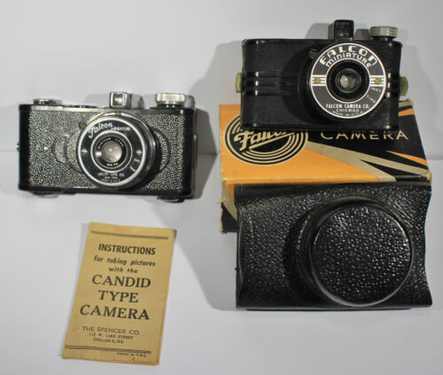 Two Falcon Bakelite Miniature Cameras, one in Box with Case and Instructions