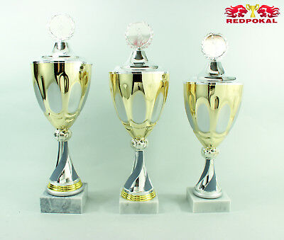 3er Serie Pokale 42,5-47cm in silber-gold-grau inkl. Gravur u.Emblem - E198/1-3