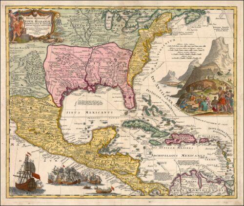 1720 map Florida Carolinas Mexico New Spain England Virginia World 19990