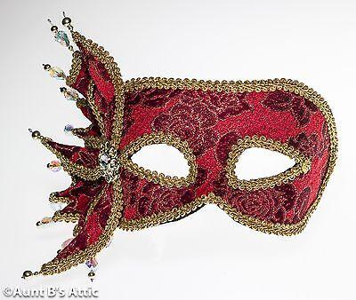 Mardi Gras Maske Rot & Gold Brokat Stoff - Rot Mit Gold Maske
